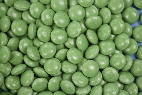 Circular Green Coated Tablets